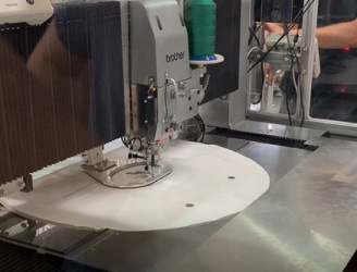 Automatic sewing line of driver's airbag panels